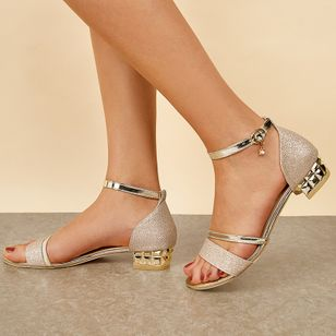 Women's Crystal Buckle Low Top Low Heel Sandals (1534061)