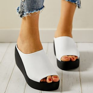 Women's Peep Toe Wedge Heel Wedges Slippers (1534730)