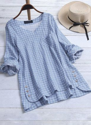Check Casual V-Neckline Long Sleeve Blouses (1301332)
