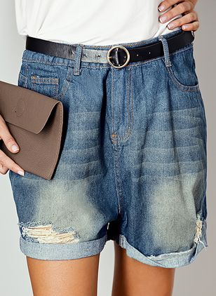 Casual Loose High Waist Polyester Shorts Jeans Pants (1499073)