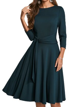 Chic Solid Boat Neckline Midi X-line Dress (1279333)