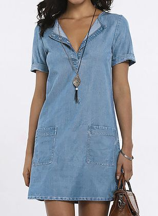 Sheath Dress Round Neckline Denim Dress (1042932)