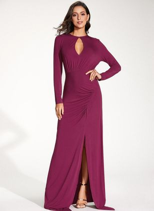 Casual Solid Round Neckline Maxi X-line Dress (1322724)