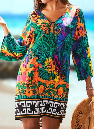 Polyester High Neckline Pattern Cover-Ups Swimwear (1500302)