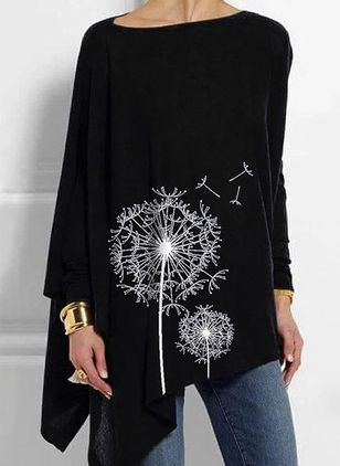 Floral Round Neck Long Sleeve Casual T-shirts (100132586)