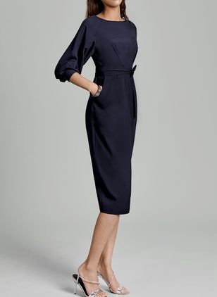 Elegant Solid Round Neckline Midi Sheath Dress (1012421)
