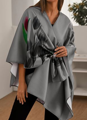 Long Sleeve V-neck Blanket Coats Capes (108089068)