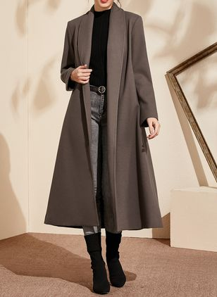 Long Sleeve Lapel Blanket Coats (1383168)