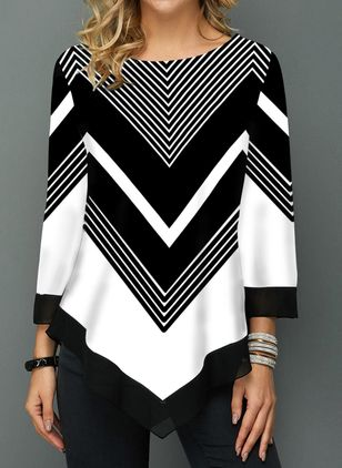 Color Block Casual Boat Neckline 3/4 Sleeves Blouses (1452925)