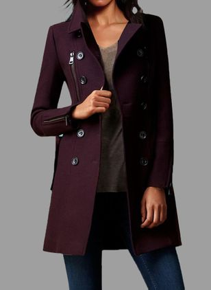 Long Sleeve Collar Buttons Coats Jackets (1368951)