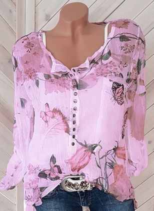 Plus Size Floral Casual V-Neckline Long Sleeve Blouses (1324048)
