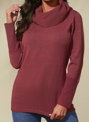 Draped Neckline Solid Casual Loose Regular Shift Sweaters (1432282)