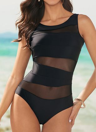 Polyester Solid One-piece Swimwear (1291962)