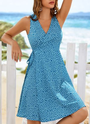 Casual Floral Drop waist V-Neckline A-line Dress (4049706)