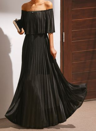 Elegant Solid Off the Shoulder Maxi X-line Dress (1317239)