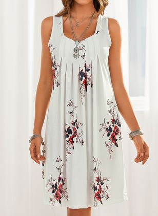 Casual Floral Tunic Round Neckline Shift Dress (1486582)