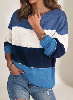 Round Neckline Color Block Casual Loose Short Shift Sweaters (1409805)