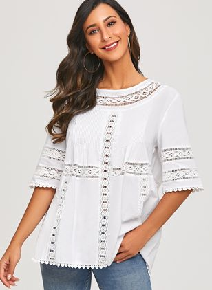 Solid Casual Round Neckline Half Sleeve Blouses (1307498)