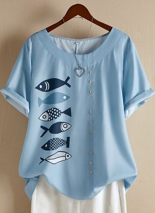 Plus Size Animal Casual Round Neckline Short Sleeve Blouses (1508974)