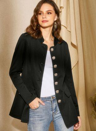 Long Sleeve Stand Collar Buttons Coats (1290429)