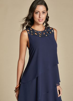 Casual Solid Hollow Out Tunic Shift Dress (1315486)