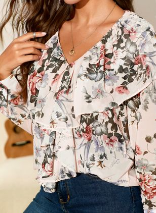 Floral Sexy V-Neckline Long Sleeve Blouses (1396693)