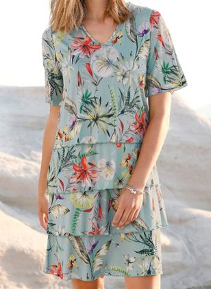 Casual Floral Shirt Round Neckline Shift Dress (4541678)