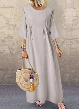 Casual Solid Tunic Round Neckline Shift Dress (1522466)
