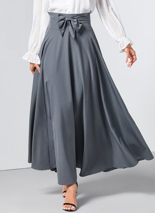 Solid Maxi Pockets Skirts (1227185)