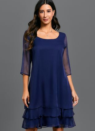 Casual Solid Ruffles Round Neckline X-line Dress (1355480)