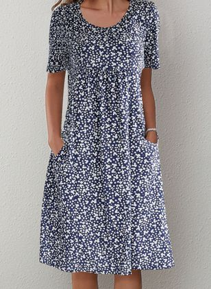 Casual Floral Round Neckline Midi A-line Dress (1501159)