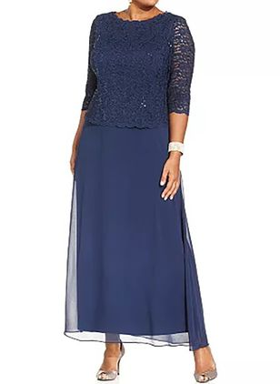 Plus Size Tunic Solid Round Neckline Casual Lace Plus Dress (1315379)