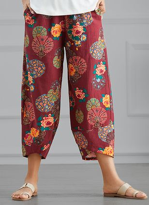 Casual Straight High Waist Cotton Pants (4040407)
