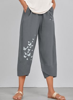 Casual Straight Pockets High Waist Cotton Blends Pants (4040428)