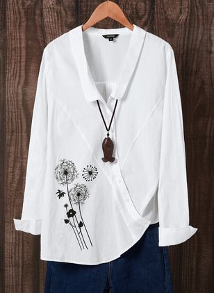 Floral Casual Collar Long Sleeve Blouses (1425733)