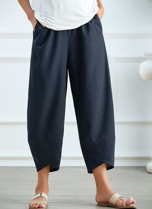 Casual Loose Pockets High Waist Polyester Pants (2200251)
