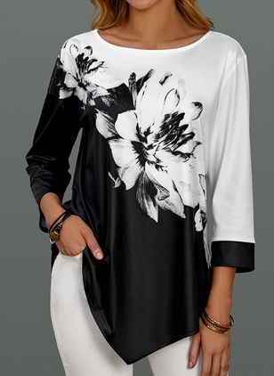 Floral Casual Round Neckline 3/4 Sleeves Blouses (1410560)