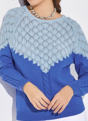Round Neckline Color Block Casual Loose Regular Beading Hollow Out Sweaters (1350534)