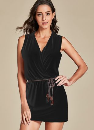 Casual Solid Pencil V-Neckline Bodycon Dress (1324265)