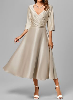 Elegant Solid V-Neckline Midi X-line Dress (1330234)