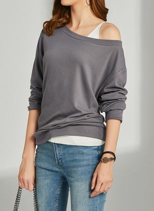 Solid Novelty Oblique Neckline Sweatshirts (1251170)