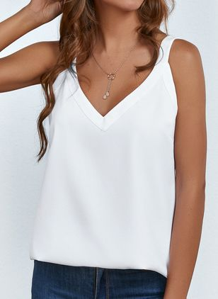 Solid Casual Camisole Neckline Sleeveless Blouses (4073217)
