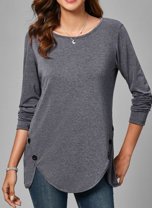 Solid Round Neck 3/4 Sleeves Casual T-shirts (1425771)