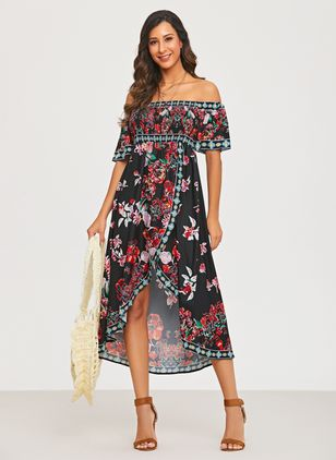 Elegant Floral Off the Shoulder Knee-Length X-line Dress (1324458)