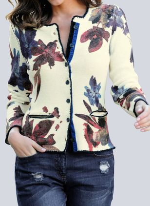 V-Neckline Floral Casual Short Buttons Sweaters (1388585)