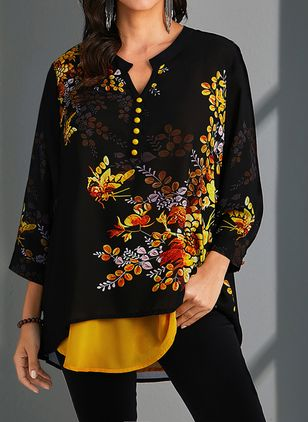 Plus Size Floral V-Neckline Casual Shift Blouses 3/4 Sleeves Plus Blouses (1480209)