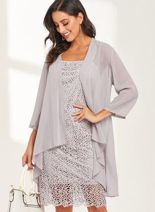 Casual Solid Tunic Round Neckline Shift Dress (1358604)