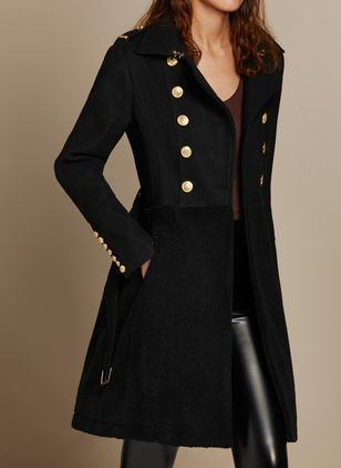 Long Sleeve V-neck Buttons Pockets Coats (1358213)