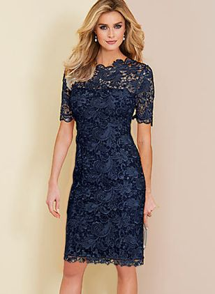 Elegant Solid Hollow Out Round Neckline Sheath Dress (1309685)