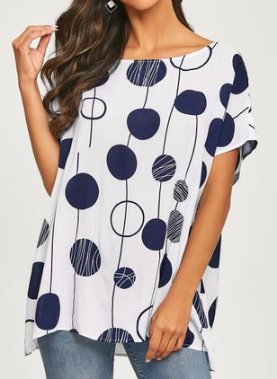 Polka Dot Casual Round Neckline Short Sleeve Blouses (1317797)
